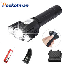 10000LM LED Flashlight Lanterna T6+2*XPE Led 360 Rotating Sidelamp Tail Magnet Best Repair Camping fishing Emergency Torch(China)
