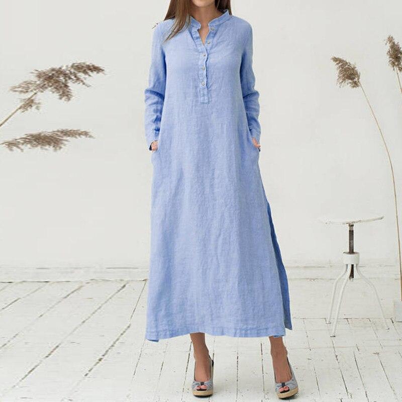 Vestido de linho feminino, vestido de verão tamanho grande 5xl 2020 de manga comprida cafetã casual solto plus size longa vestidos, vestidos