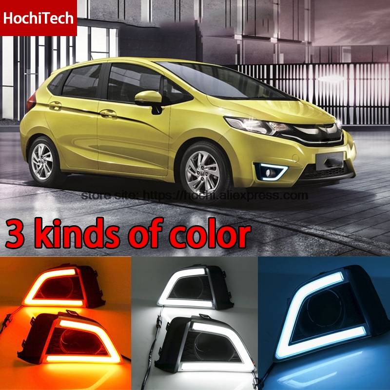 High quality 3 colors white yellow ice blue LED Car DRL Daytime running lights fog light for honda fit 2014-2017 US Version high quality 3 colors white yellow ice blue led car drl daytime running lights fog light with yellow turn signal for honda jade