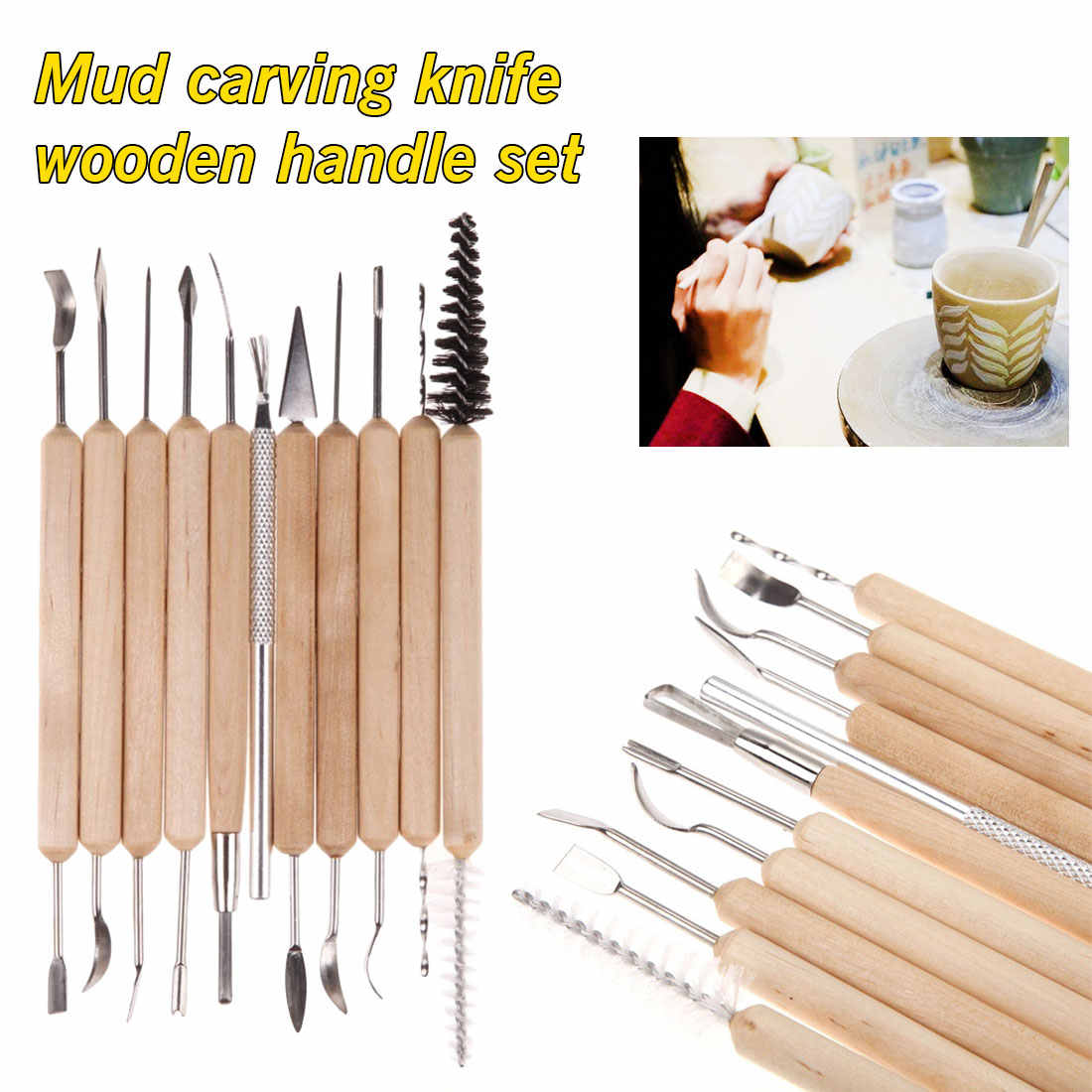New Tool Kit Polymer Clay Sculpting Ceramics Model Pottery Carve Wood Handle