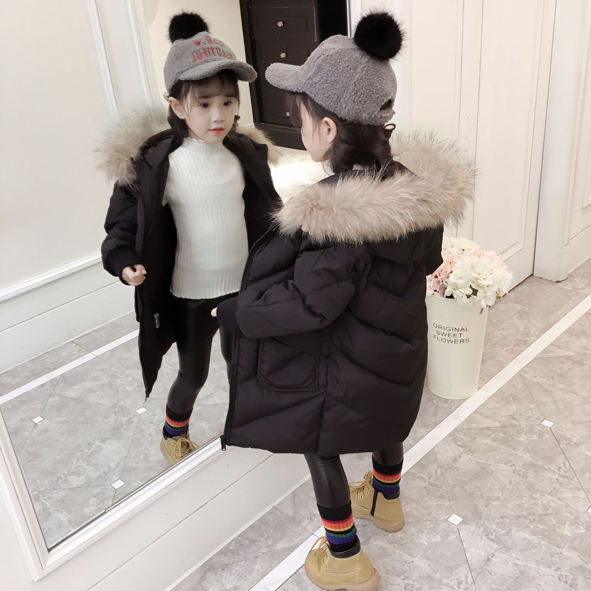 Girls Coats Winter Korean Wool Collar Long Cotton Padded Outerwear Fashion Girl Jackets 5-10 YearsGirls Coats Winter Korean Wool Collar Long Cotton Padded Outerwear Fashion Girl Jackets 5-10 Years