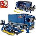 2017 nuevo compatible con leping ciudad bloques de construcción sluban f1 coche de carreras de camiones juguetes de los ladrillos educativos regalo brinquedos educativos