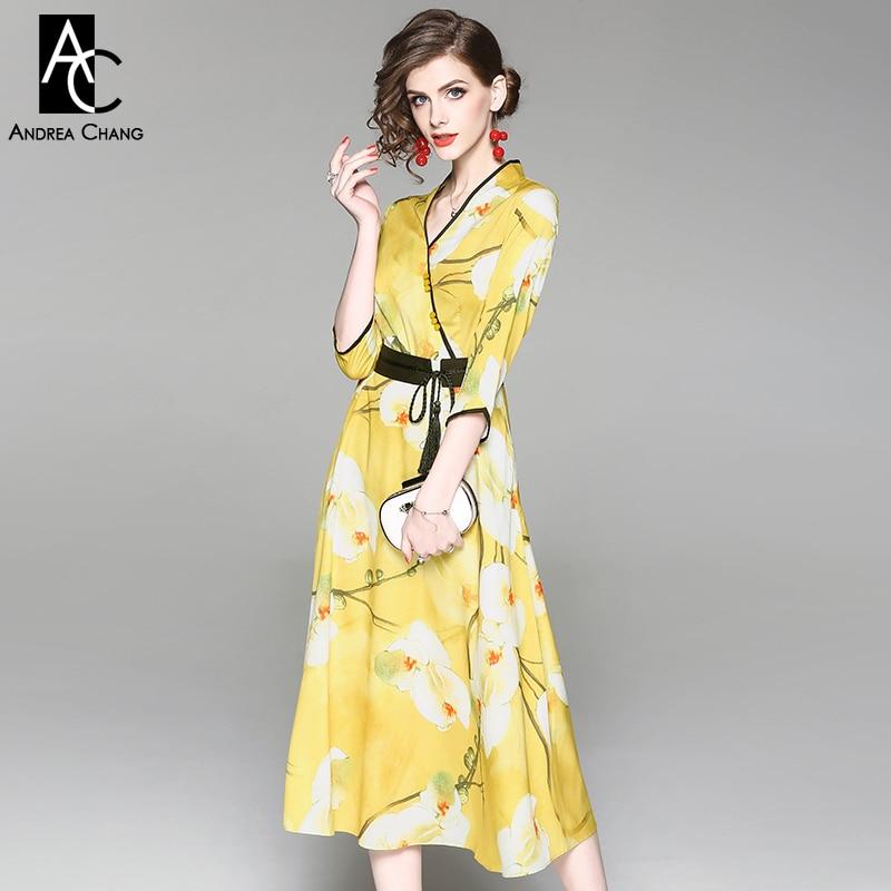 0f0506eca2 Mola mulher vestido de verão cinto borda preta branca padrão floral vestido  estampado com decote em v 3 4 manga comprimento bezerro vestido amarelo do  ...