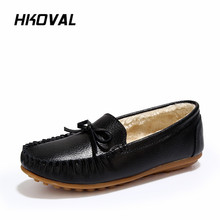 HKOVAL Women Shoes Winter Loafers Genuine Leather Ladies Warm Plush Driving Boat Moccasins Casual Female Solid Flats Shoe цена в Москве и Питере