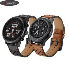 Купить с кэшбэком Strap for Samsung Galaxy watch 46mm Gear S3 Frontier/Classic Huami Amazfit Bip Pace/Stratos 2/1 smart watch leather bracelet