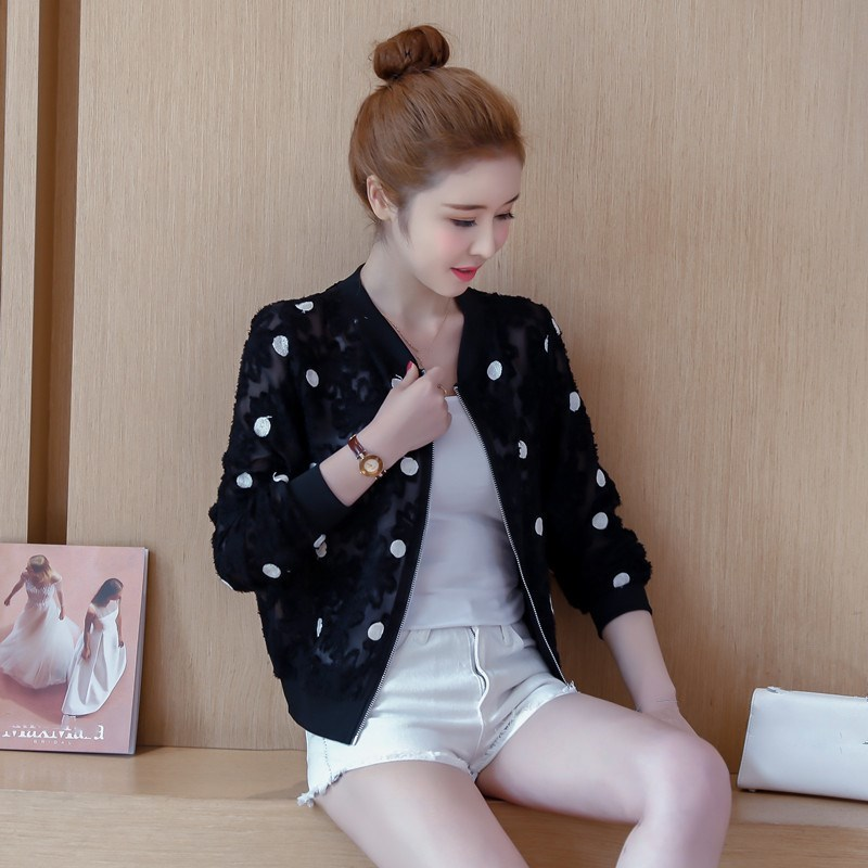 2019 Korean Slim Baseball Short Jacket Summer Casual White Thin Women's Bomber Jacket Polka Dot Dot Sunscreen Cardigan Jacket 34
