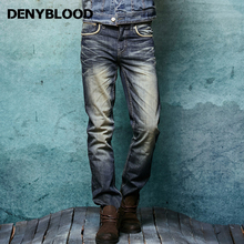 Denyblood Jeans Mens Vintage Washed Denim Distressed Jeans Rippped Straight Casual Pants Inseam L33 Trousers Clothing 146043