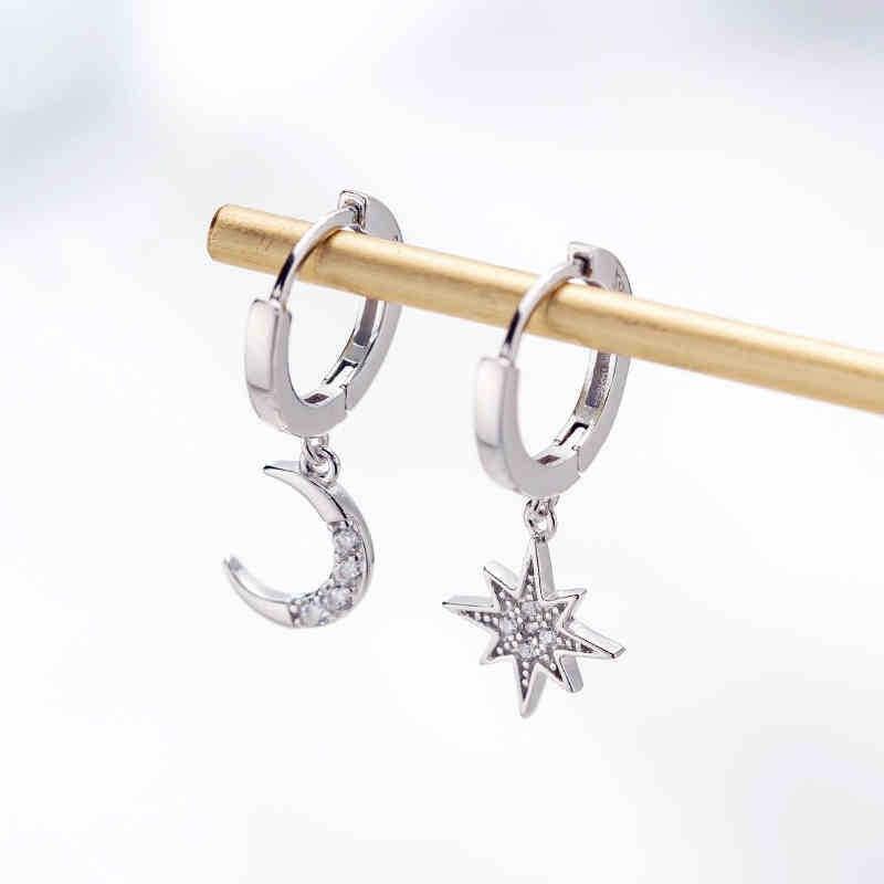 Asymmetric Earrings Of Star And Moon 6