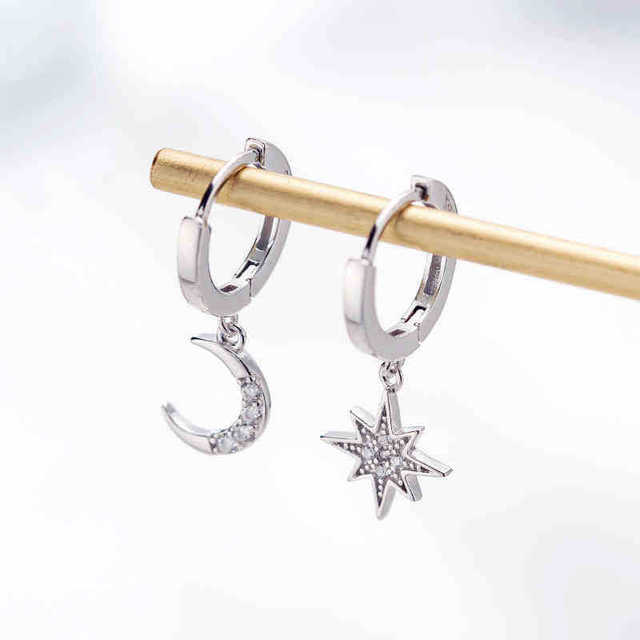 2019 New Arrival Fashion Classic Geometric Women Dangle Earrings Asymmetric Earrings Of Star And Moon Female Korean Jewelry 5