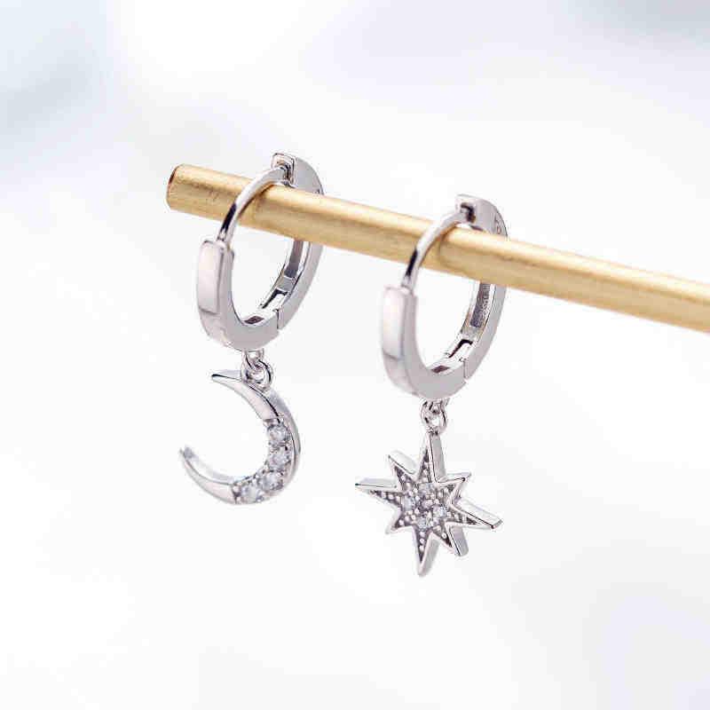 2019 New Arrival moda klasyczne geometryczne kobiety dynda kolczyki asymetryczne kolczyki gwiazdy i księżyca kobiet koreańska biżuteria