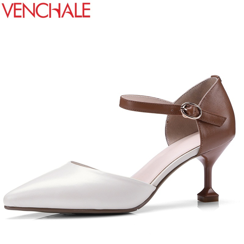 VENCHALE women shoes 2018 summer new sandals fashion heels height 6 cm two colors cover thin heel genuine leather shoes venchale two heels options sheepskin