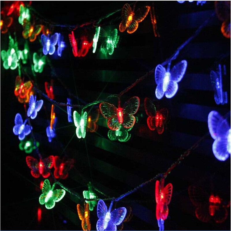 Butterfly Led Lamp 0utdoor Waterproof Led For Garden 220v 10m 50LEDs String Lights Wedding Light