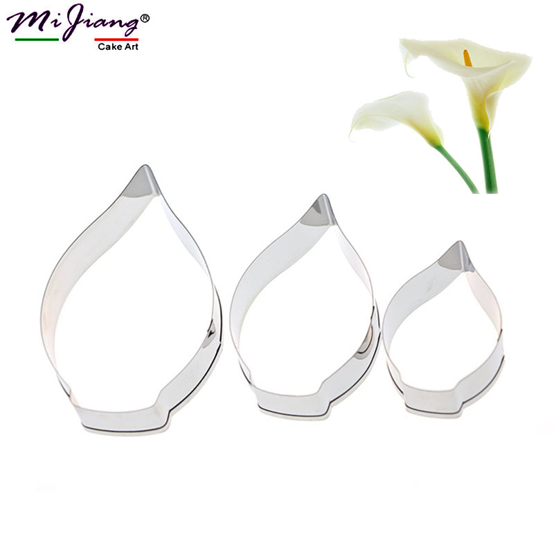 Cake Molds Bakeware Calla Lily Flower Mold Cake Fondant Decorating Tool Stainless Steel Cookie Cutters Wedding Flower Sugar Paste Baking Mold A365