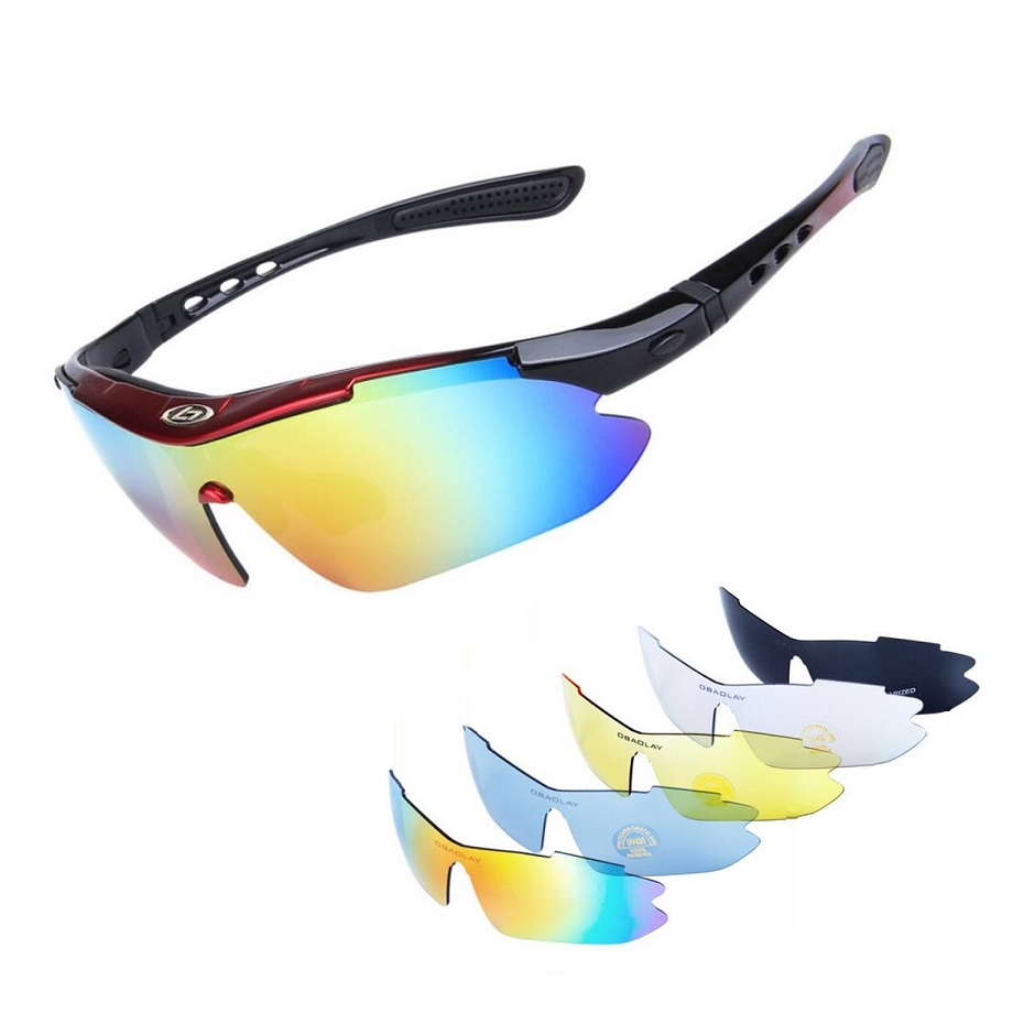 Sport Glasses Set Polarized Ski Goggles UV400 Motorcycle Snowboarding Oculos Eyewear Sunglasses For Fishing Bicycle Case +4 Lens