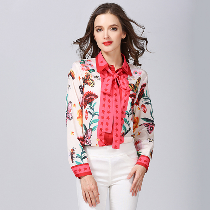 df866ec588b HIGH QUALITY Women Fashion England Style Plus Size Sweet Floral Print Bow  Shirt Runway Cute Blouse Popular Summer Tops-in Blouses   Shirts from  Women s ...