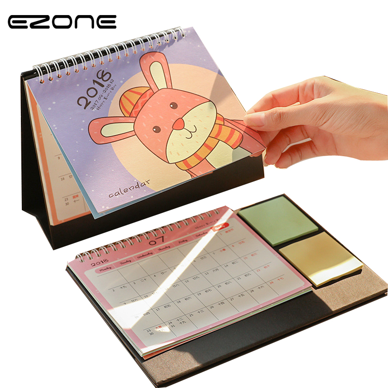 EZONE 1PC Cartoon Desk Desktop Calendar Office Flip Stand Table Planner And Memo For Home Office Ornaments Cute Student Gifts