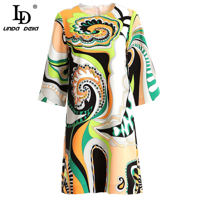 New Spring Summer Fashion Vintage Dress Women's Beading Sequined Geometric Printed Elegant Vacation Mini Dresses