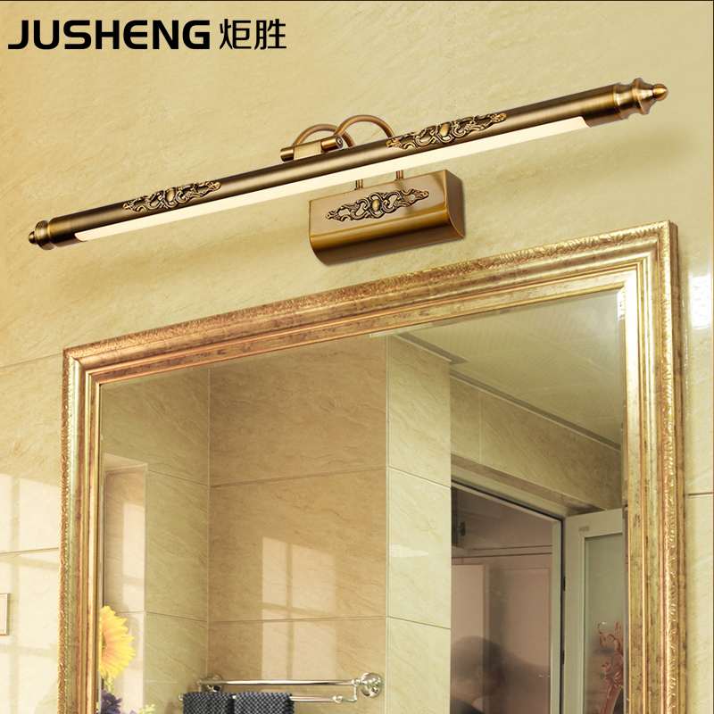 JUSHENG Classic Antique Brass LED Wall Lamps in Bathroom with Swing Arm over Mirrors Picture Lighting