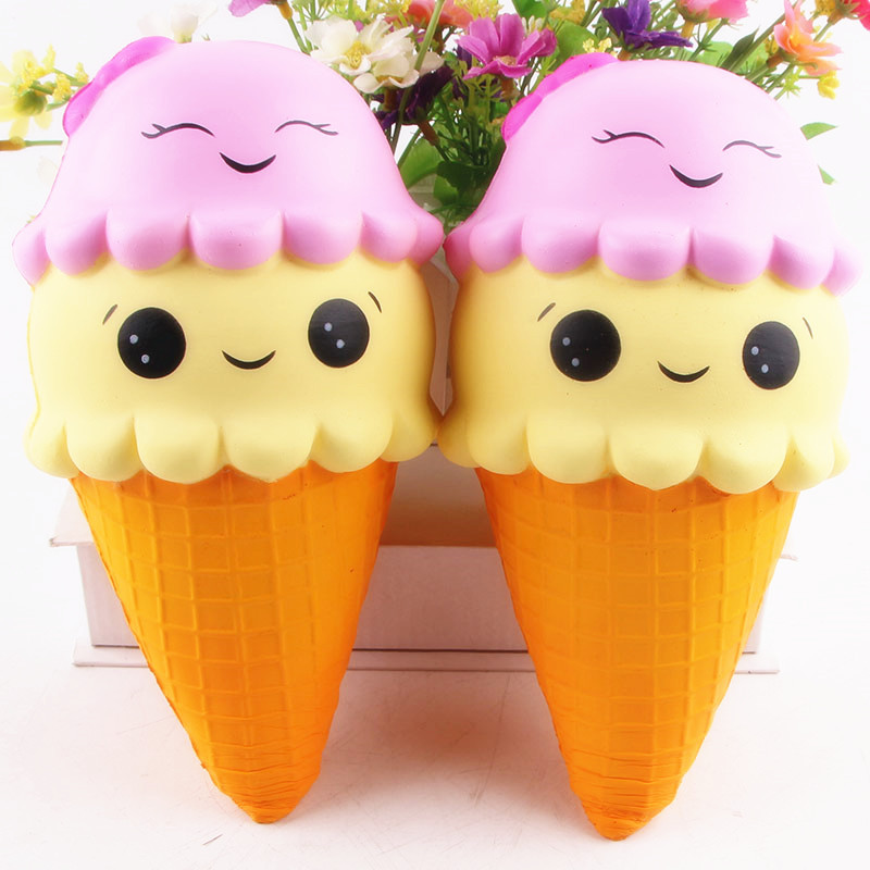 4pc Smile Emoj Ice Cream Squishy PU Squishy bread Carton Jumbo Smile Face Slow Rising Kids Anti-strss Soft Squeeze Baby Toy Gift ...