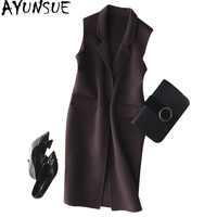AYUNSUE 2018 Autumn Winter Long Vest Women Double side Wool Coat Female Sleeveless Cashmere Vests Women's Spring Jacket WYQ1232