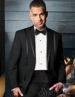 Свадебные костюмы для мужчин смокинг Черный нагрудные 2018 на заказ Жених костюмы Шерсть