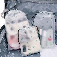 TTLIFE Matte Cactus Drawstring shoes Clothes Storage Makeup Bath Toiletry Wash Travel Organizer Pouch Women Cosmetic Bag 3 Size