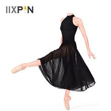 Baleriny sukienka dziecięca bez rękawów Mock t neck trykot dla dziewczynek sukienka baletowa z siatką długa spódnica pochwała liryczne kostiumy do tańca