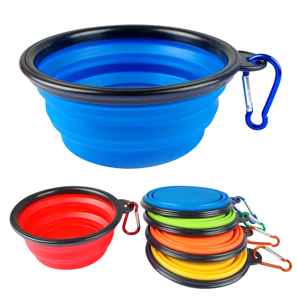 Portable Dog Water Bowl >> 6 Colors Silicone Bowl Pet Folding Portable Dog Bowls For Food The