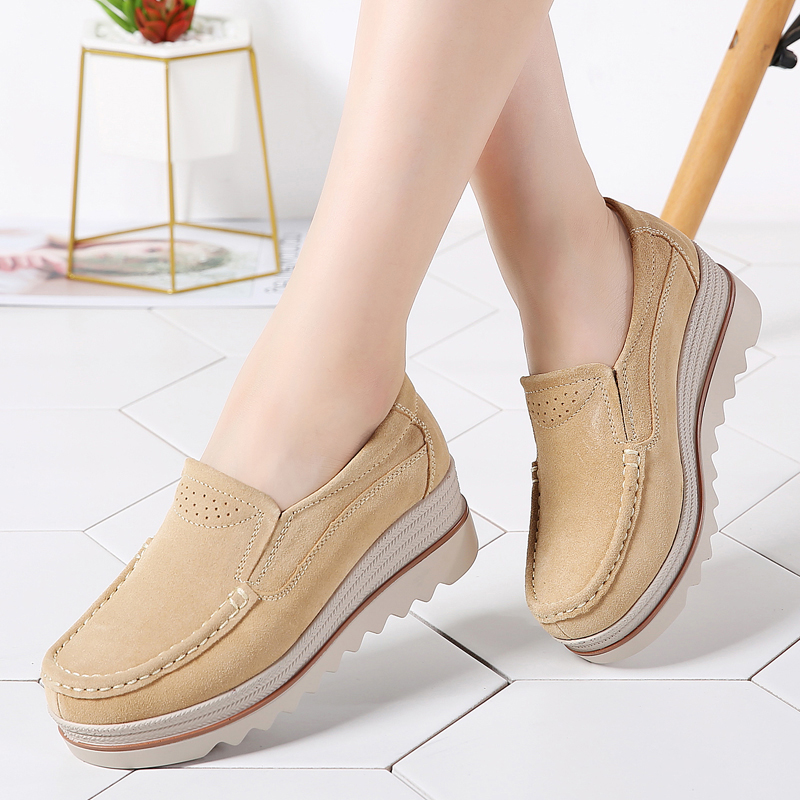 2019 Women Winter Flat Platform Shoes Slip on Sneakers   Leather     Suede   Ladies Casual Flats Tenis Feminino Creepers Moccasins 3088