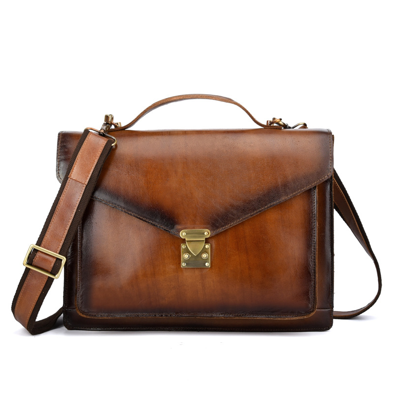 Crazy horse genuine leather men bags briefcases handbag shoulder crossbody bag men messenger bags leather laptop bag