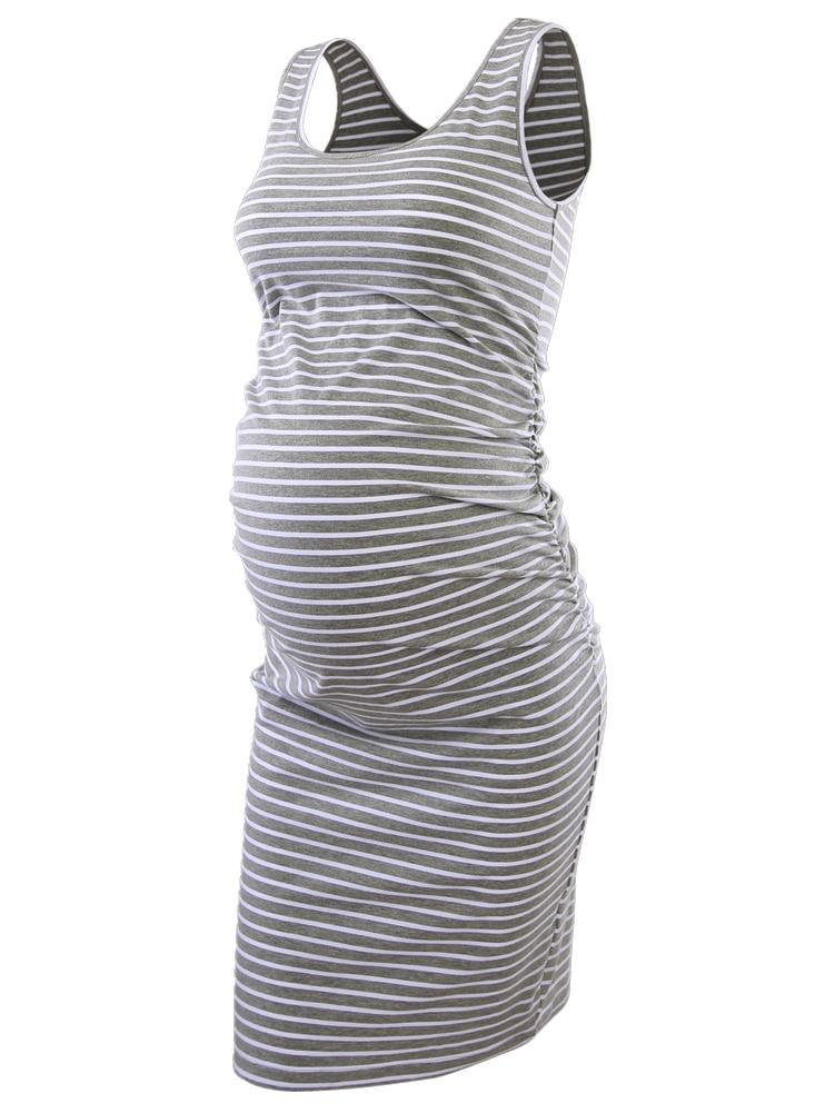 f6347484f5e4b Women s Side Ruched Maternity Sleeveless Dresses Maternity Tank Dress Mama  Scoop Neck Baby Shower Vestido Pregnancy Dress