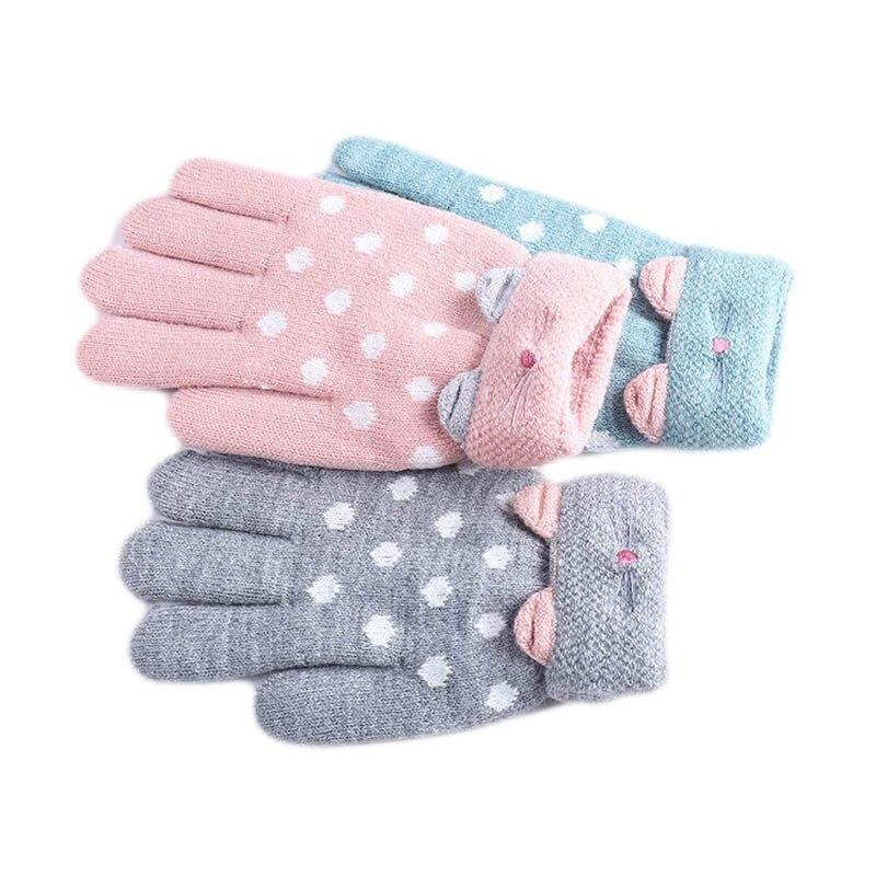 Angemessen Für 7 ~ 11y Kinder Hohe Qualität Kinder Winter Finger Warme Weiche Gestrickte Handschuhe Mädchen Mode Verdicken Handschuhe Für Kinder Supplement Die Vitalenergie Und NäHren Yin