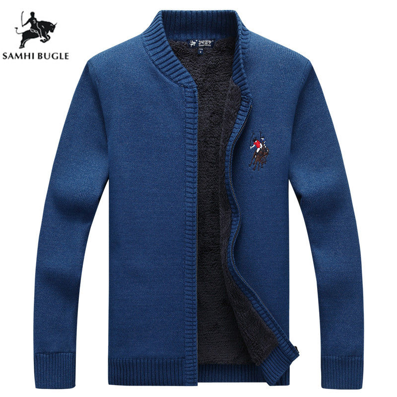 Keep Warm Sweater Men Winter Warm Thick Velvet Sweatercoat Zipper Casual Cardigan Embroidery Men Sweaters Pattern Knitwear