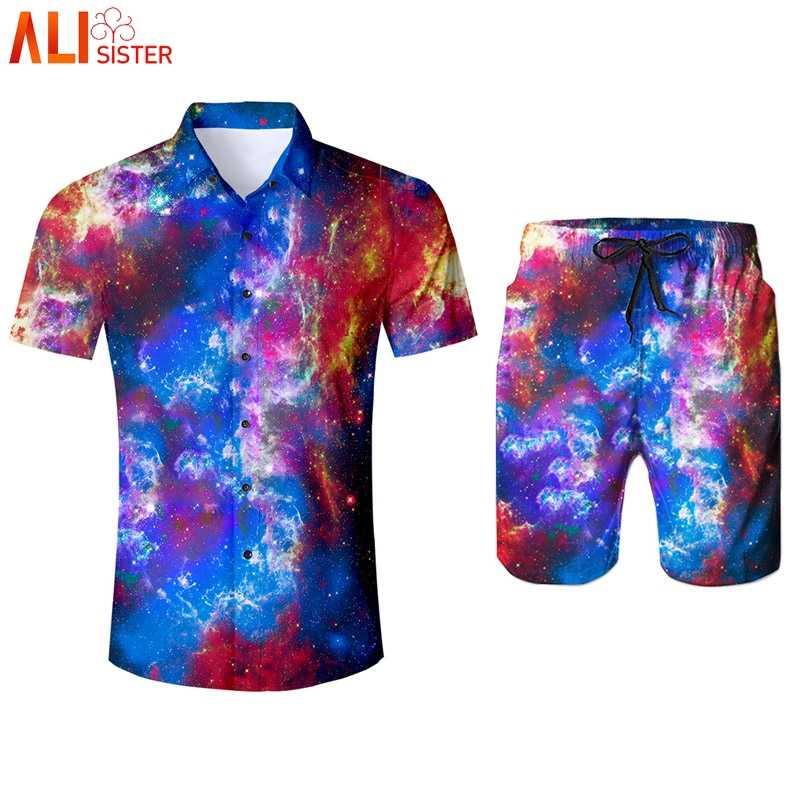 Alisister Galaxy с космическим принтом, комплект из 2 предметов, мужской спортивный костюм, 3d рубашки и шорты, летние мужские шорты, мужские костюмы, Прямая поставка