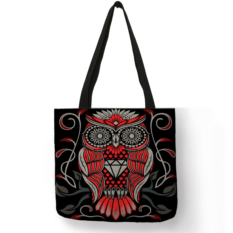 Owl Tattoo Double Side Printed Tote Bag