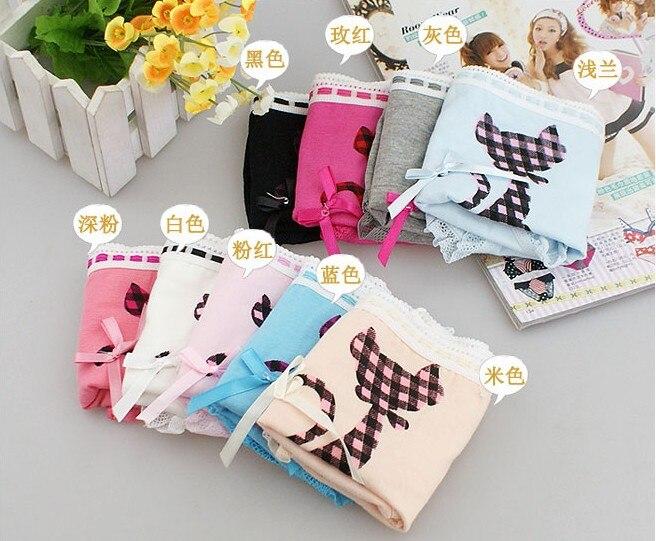 Vornehm Großhandel Weibliche Mundhygiene Pflege Serie 100% Baumwolle Sexy Spitzen Slip Mit Bowknot Katze Kitty Muster Frauen Höschen Unterwäsche Liefern.