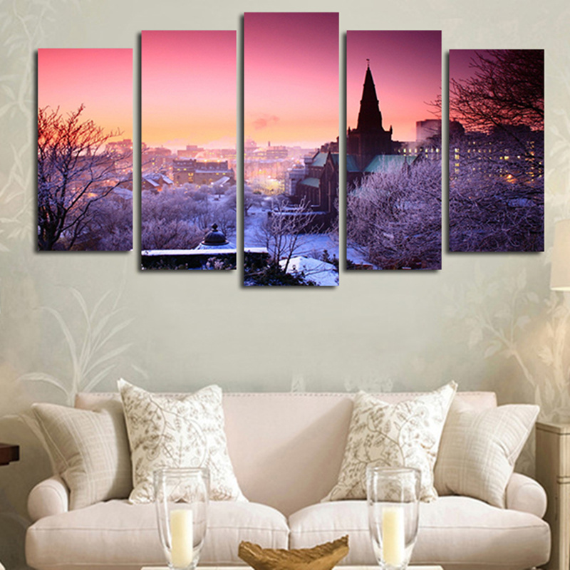 (No Frame)5 Pcs Art Paintings Canvas Picture Home Room Decor Pink In The Winter City Wall Print Pain Painting Large Artwork
