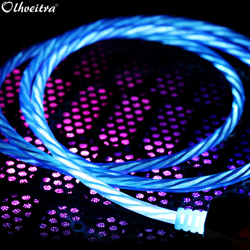 Olhveitra Led Cable Charger For iPhone X XR 7 8 Plus XS MAX iPhone 6 6s Plus 5 5s iPad Mini USB Data Cable Charging Wire Cabo 1m