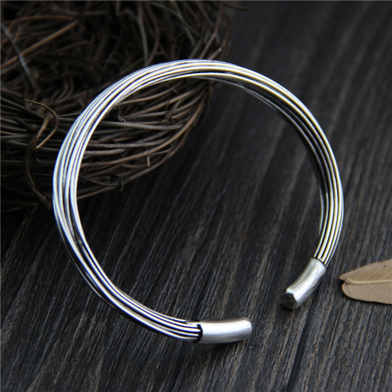 C&R Real 925 Sterling Silver bangle bracelet for women silver line Entangled Opening Thai Silver bangles Fine JewelryC&R Real 925 Sterling Silver bangle bracelet for women silver line Entangled Opening Thai Silver bangles Fine Jewelry