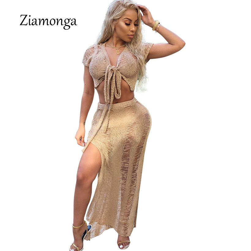 Detail Feedback Questions about Ziamonga 2018 New Knitting Long Dress Women  2 Pieces Set Maxi Dress Sexy Hollow Out High Split Club Party Dress Sweater  ... 9ec1021a68e5
