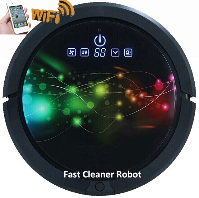 WIFI Smartphone App Control (Sweeping ,Vacuum , Wet Mop and Dry Mop )Wet and Dry Auto Vacuum Cleaner With 150ml Water tank
