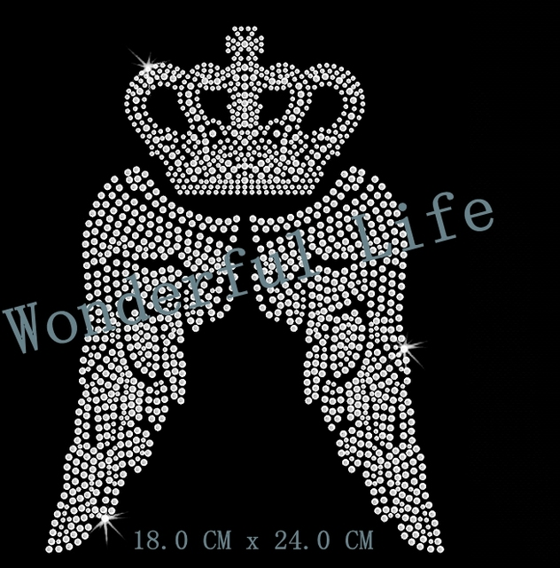 Free shipping nice crown with wing cool hotfix Rhinestone transfer iron on Motif  transfer design image with Free Gift 50112137bc9b