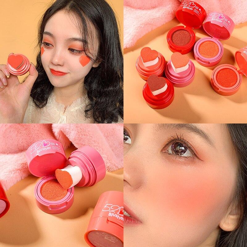 Xixi rosto maquiagem selo blush em pó 12g forma do coração à prova dwaterproof água longa duração laranja rosa almofada de ar blush paleta ac074