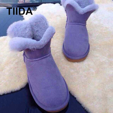TIIDA Top Quality Women Winter Boots Four Leaved Clover Snow Boots 100% Natural Fur Wool Women Boots Genuine Sheepskin Shoes