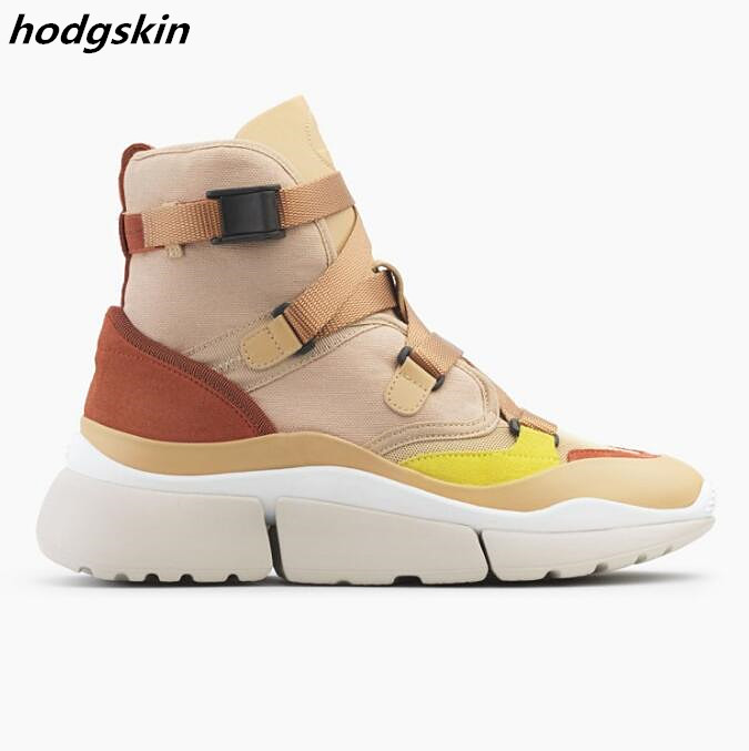 2019 Runway New Arrival Mixed Colors Buckles Strappy Sneakers Thick Platform Women Boots Flats Shoes Woman zapatillas mujer2019 Runway New Arrival Mixed Colors Buckles Strappy Sneakers Thick Platform Women Boots Flats Shoes Woman zapatillas mujer