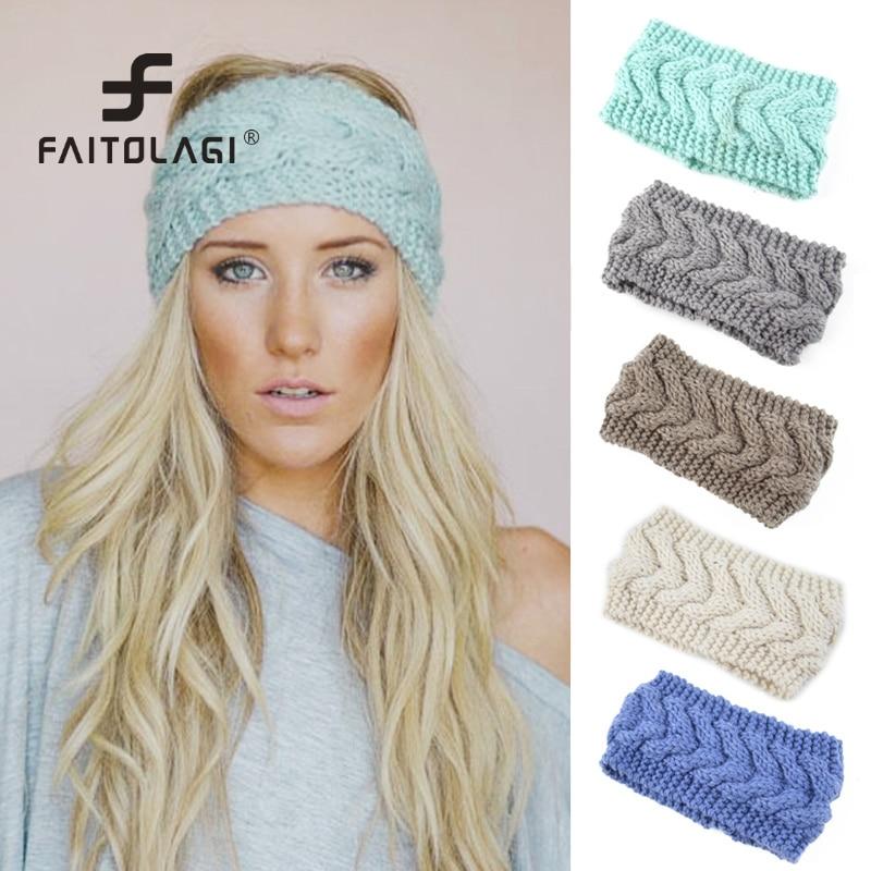 Boêmia de malha de malha de malha de malha de malha de cabelo para meninas meninas de inverno headbands de crochê quente turbante headbands