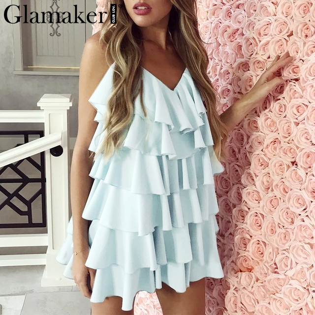 Glamaker Backless Dress Glamaker Chiffon backless ruffle blue sexy mini sundress Women holiday  beach dress Female casual party summer dress vestidos de