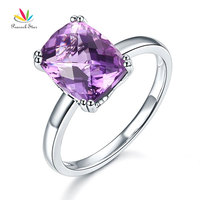 Peacock Star Fine 14K White Gold Wedding Promise Anniversary Engagement Ring Purple Amethyst