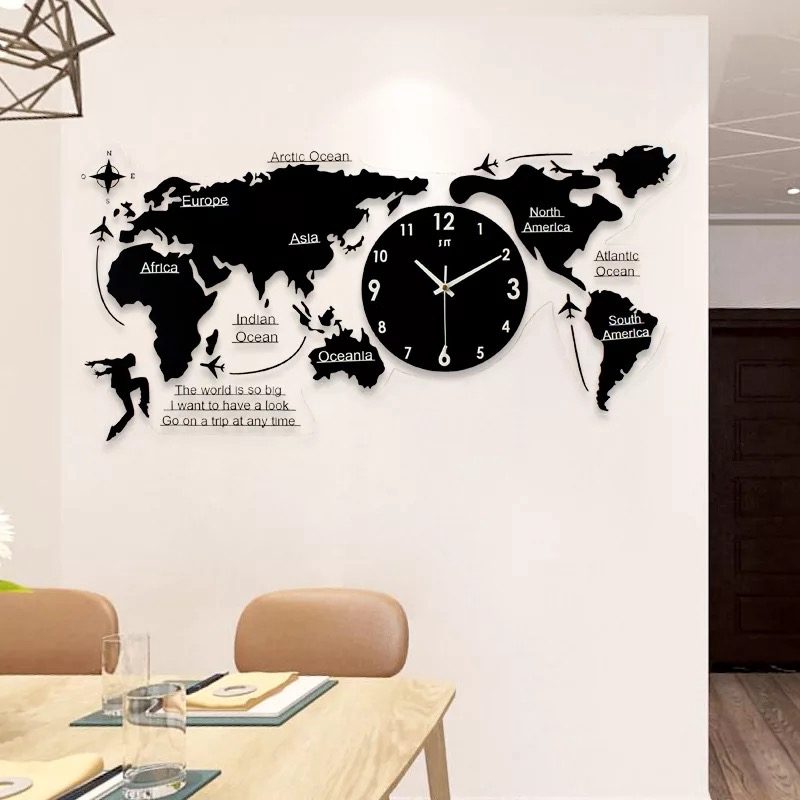 3d big world map wall clock modern design decorative wall watches 3d big world map wall clock modern design decorative wall watches wall sticker decor living room wrought iron silent large clock in wall clocks from home gumiabroncs Image collections