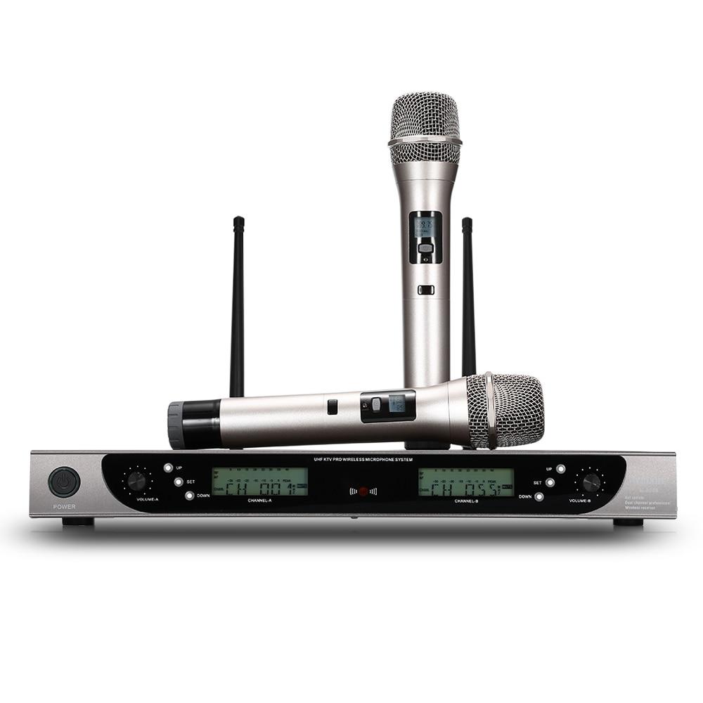 лучшая цена WEISRE U-8008 Wireless UHF Microphone System Handheld Shockproof Mic 2 Channels W/ LCD Display Receiver For Home KTV Conferences